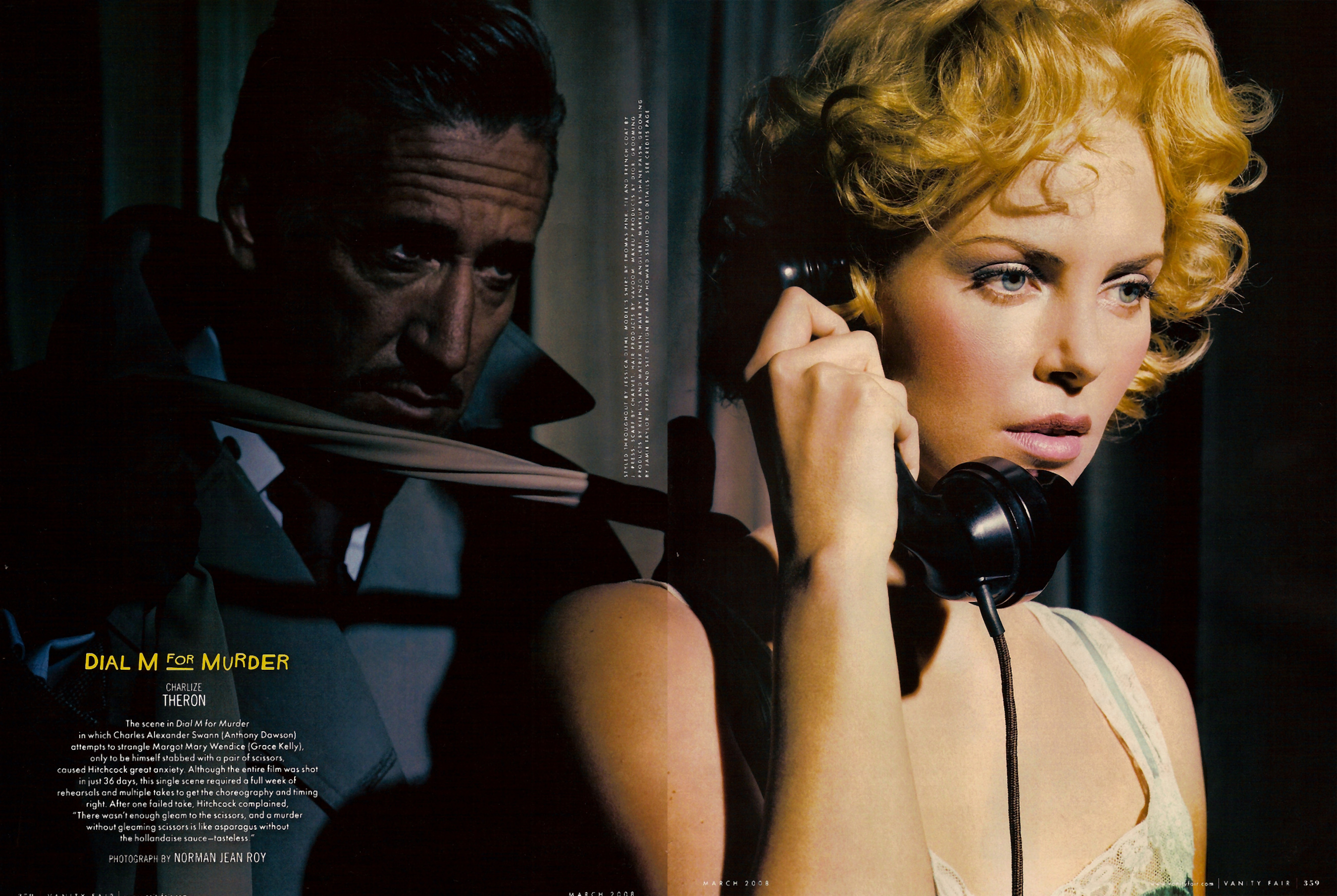 Charlize Theron as Grace Kelly by Norman Jean Roy, Vanity Fair March, 2008