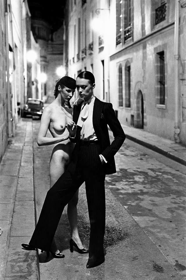Helmut Newton, Yves Saint Laurent, Rue Aubriot, Vogue France, 1975, Paris © Helmut Newton Estate