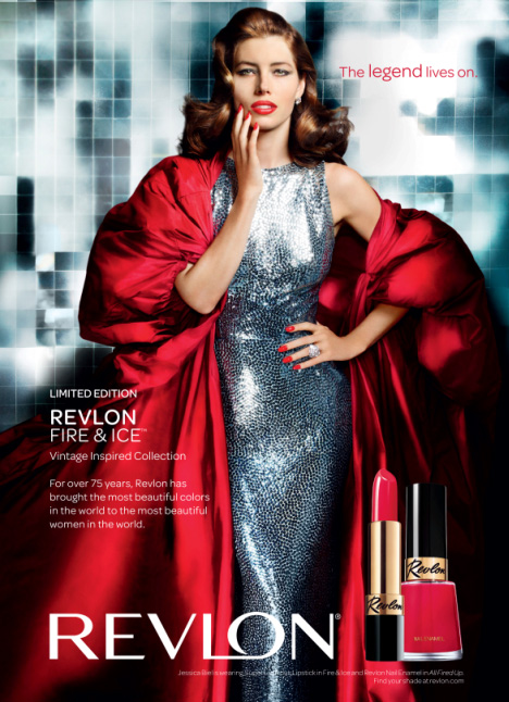 Jessica Biel as Dorian Leigh for Revlon by Mario Testino, 2010