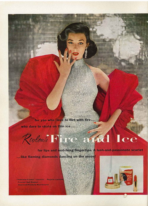 Dorian Leigh in Revlon's Fire and Ice Campaign by Richard Avedon, 1952