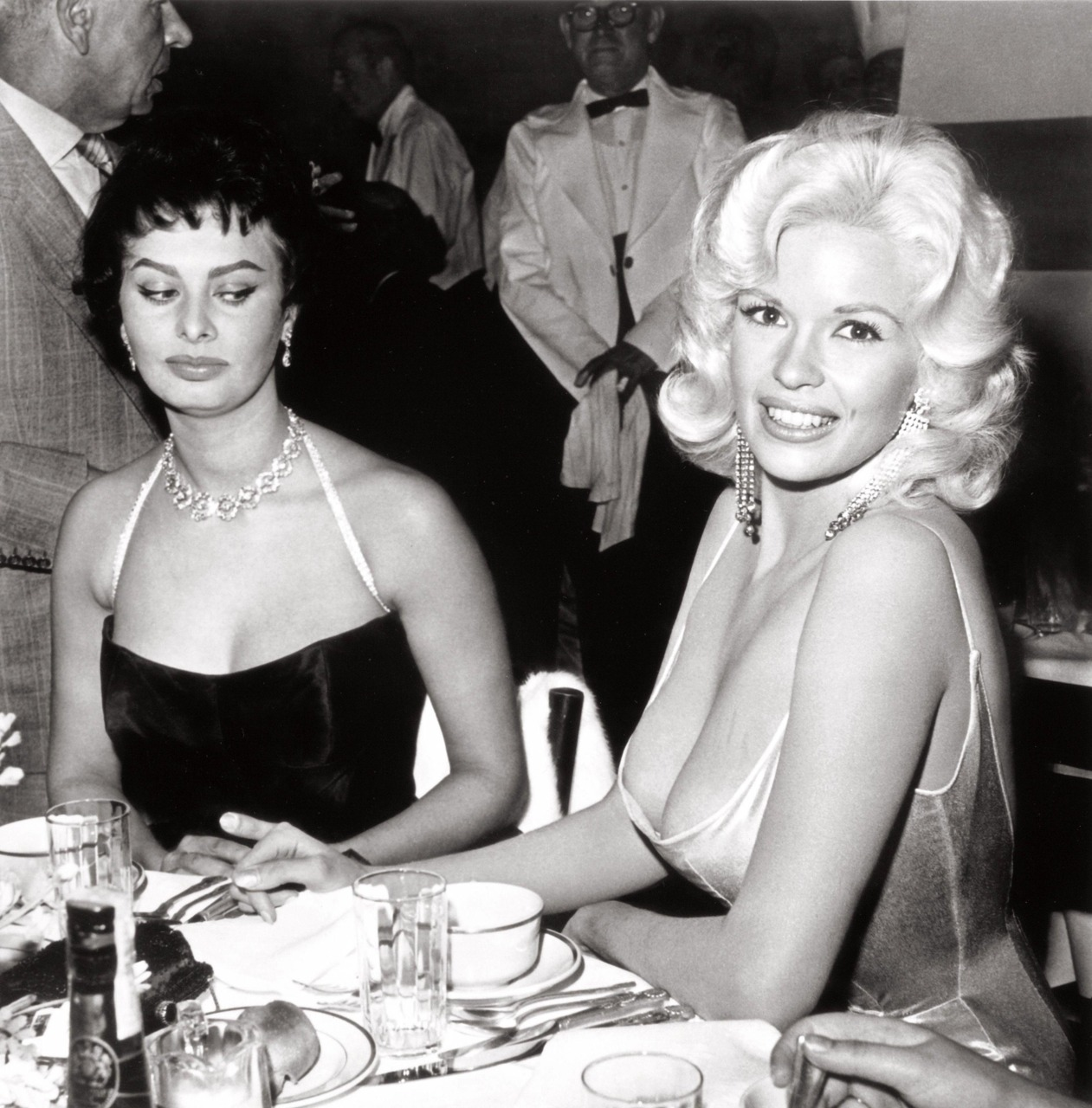 Jayne Mansfield and Sophia Loren at Romanoff's in Beverly Hills by Joe Shere, 1958